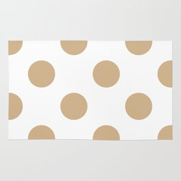 Large Polka Dots - Tan Brown on White Rug
