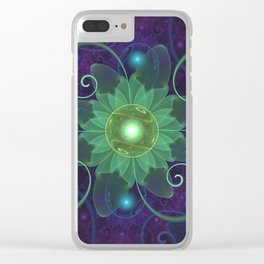 Glowing Blue-Green Fractal Lotus Lily Pad Pond Clear iPhone Case