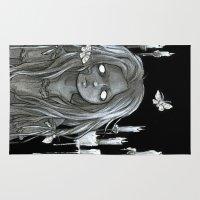 moth Area & Throw Rugs featuring Moth by Savannah Horrocks