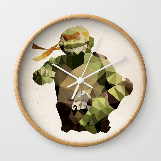Polygon Heroes - Michelangelo Wall Clock