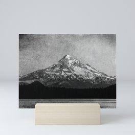 Mt Hood Black and White Vintage Nature Photography Mini Art Print
