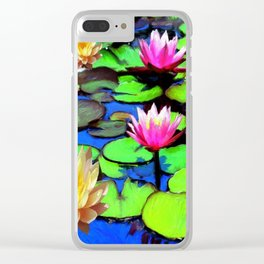 PINK & YELLOW WATER LILIES POND Clear iPhone Case