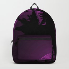 Purple Dusk with Surfergirl in Black Silhouette with Shortboard Backpack