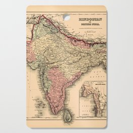 Map Of India 1857 Cutting Board