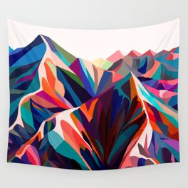 Mountains sunset warm Wall Tapestry
