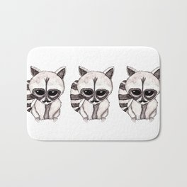 Adorable Watercolor Raccoon with Painted Mustache Bath Mat