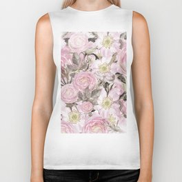 Floral Vintage painterly background in pink with Roses Flowers and insect Biker Tank