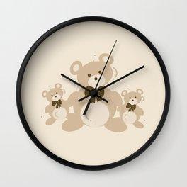 Teddy Bears Triplet - Beige Wall Clock