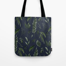 Winter Leaf Pattern 2 (Navy) Tote Bag