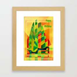 Happy Birthday Chinese Junks, Sunset, Sails and Shadows Framed Art Print