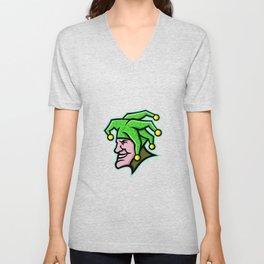 Harlequin Head Side Mascot Unisex V-Neck