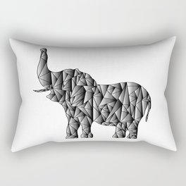 Gradient Elephant - Monochromatic Animal Rectangular Pillow