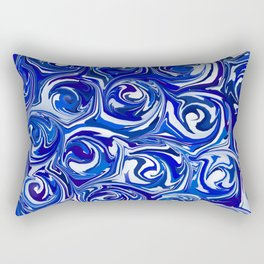 China Blue Paint Swirls Rectangular Pillow
