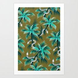 Snake Palms - Light Teal Mustard Art Print