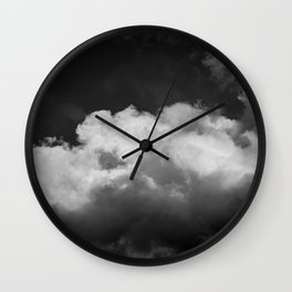 Clouds In Black And White Wall Clock