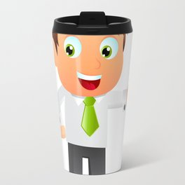 Elegant Business man cartoon Travel Mug