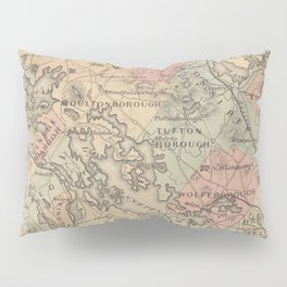 Vintage Map of The NH Lakes Region (1890) Pillow Sham
