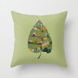 Leafing house Throw Pillow
