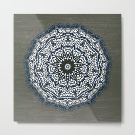 BLUE, GREY AND WHITE MANDALA  Metal Print