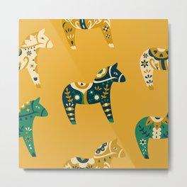 Dala Horse Pattern Metal Print