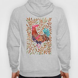 Le Coq – Watercolor Rooster with Sepia Leaves Hoody