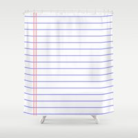 notebook Shower Curtains featuring Notebook by Leah Moloney