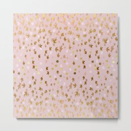 Gold and Blush Pink Falling Leaves Metal Print