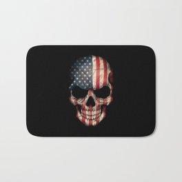 American Flag Skull on Black Bath Mat