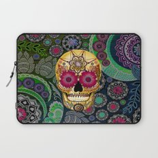 Sugar Skull Paisley Garden - Colorful Floral Sugar Skull Art Laptop Sleeve