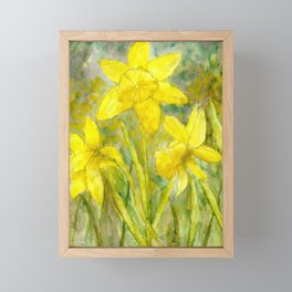 Rise and Shine, Watercolor Daffodils Painting Framed Mini Art Print