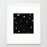 outer space Framed Art Prints featuring OUTER SPACE by DRAWDEALER