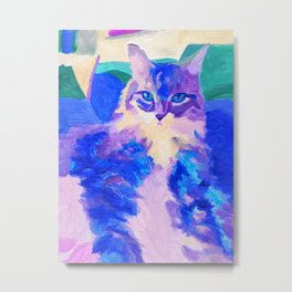 Cat in Purple and Blue Metal Print