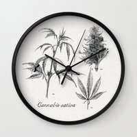 cannabis Wall Clocks featuring Cannabis sativa by 420Illustrations