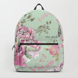 Vintage green pink floral collage typography Backpack