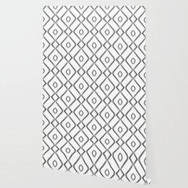 Modern Boho Ogee in Black and White Wallpaper