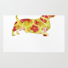 Garden Charm IV:  Shabby Floral and Geometric in Bright Orange and Yellow with Dog Rug