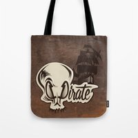 pirate Tote Bags featuring Pirate by Tony Vazquez