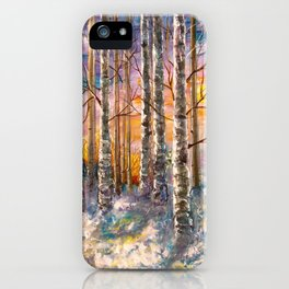 Winter Sunset Landscape Impressionistic Painting With Palette Knife iPhone Case