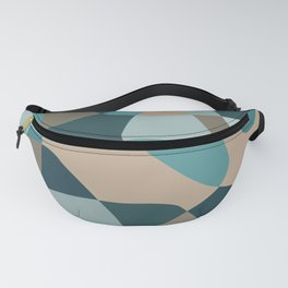 Mid Century Modern Abstract Rock Layers Teal Fanny Pack