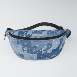 HERITAGE holiday blue quilt white snowflakes Fanny Pack