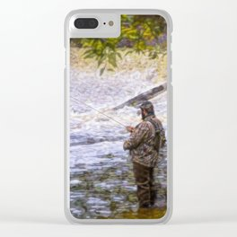 Trout fishing Clear iPhone Case