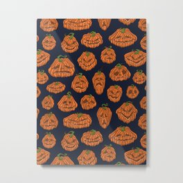 Pumpkin Heads Metal Print