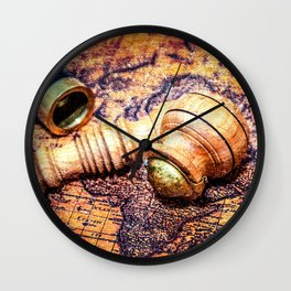 Vintage Wooden Pipe And A Looking Glass On An Old Map Wall Clock