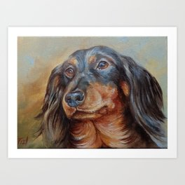 Teckel black and tan Dachshund portrait Cute pet painting Art Print