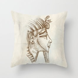 gold tutankhamon mask hand drawn Throw Pillow