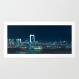 Panorama view of City night view of Odaiba Rainbow bridge,Tokyo,Japan Art Print