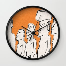 Moai statues in ink Wall Clock