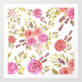 Watercolor pink and red roses with berries Art Print