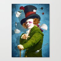 mad hatter Canvas Prints featuring Mad Hatter by Diogo Verissimo