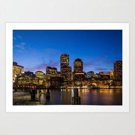 Boston City Skyline Art Print
